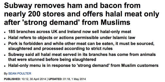 Subway removes ham and bacon from nearly 200 stores stores and offers halal products only